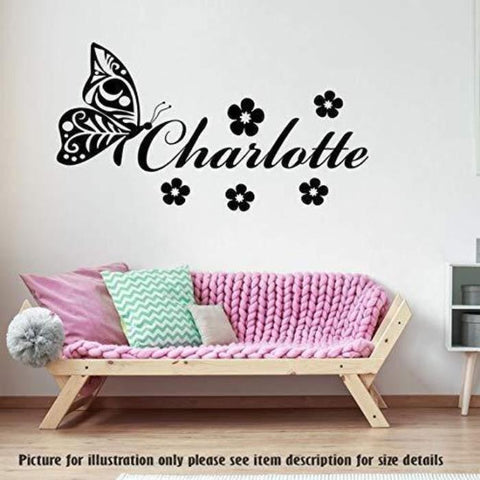 Butterfly Wall Stickers, PERSONALISED Name With Flowers Wall Art Sticker Nursery Wall Decal, Child's Room Wall Decal, Vinyl Wall Sticker