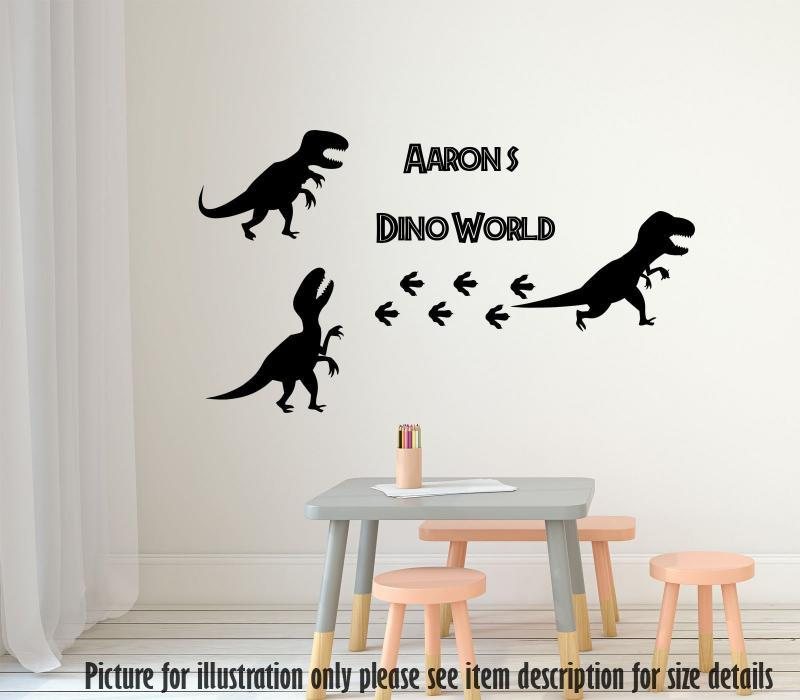 Dino set Velociraptor Dinosaur Wall Sticker, Personalised Name Dino Wall Decal Playroom Kid's Room Decor, Jurassic world theme wall stickers