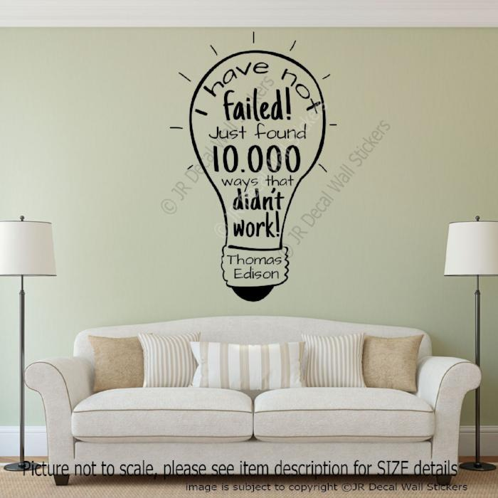 """I have not failed""- T. Edison Quote Vinyl Wall Sticker ..."