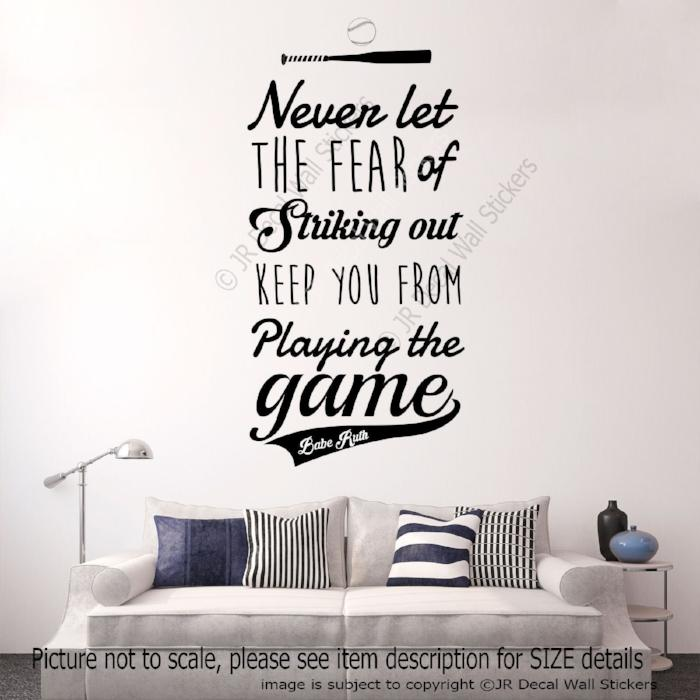 """Playing the Game- Babe Ruth"" Motivational quote wall stickers removable vinyl decals"