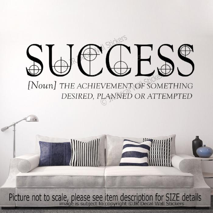 """Success The Achievement""- Inspiring Quote Vinyl Stickers Motivational Wall Decals"