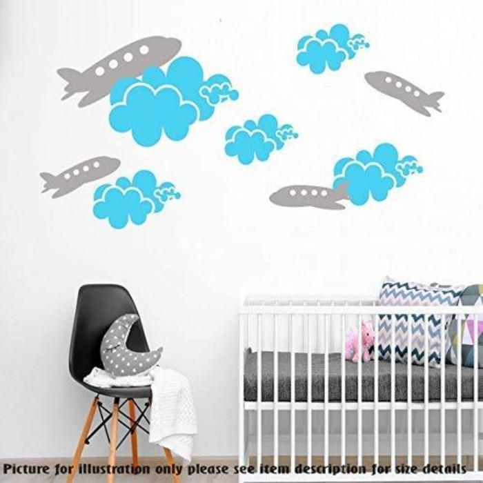 Set of Cloud stickers for walls, Airplane wall stickers