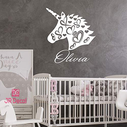 Personalized name Unicorn vinyl wall stickers decals