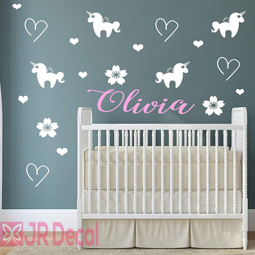 Unicorn set with Girls Personalised name sticker