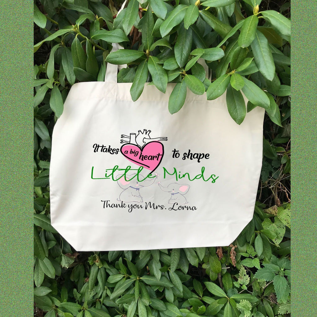 """A Big Heart"" Personalized Tote Bag for Teacher"