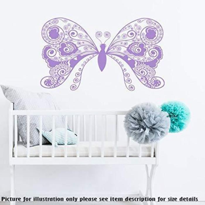 Large Butterfly Monogram Wall Stickers, Kid's Playroom Wall Art Sticker, Nursery Room Wall Decal, Child's Room Vinyl Wall Stickers