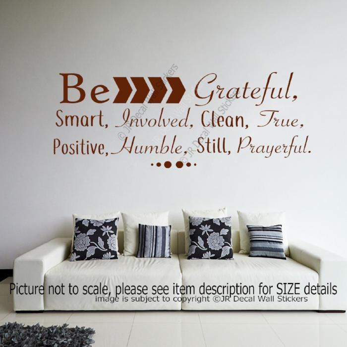 """Be Grateful, Smart, Involved""- Inspirational quotes stickers for walls Vinyl wall decals"