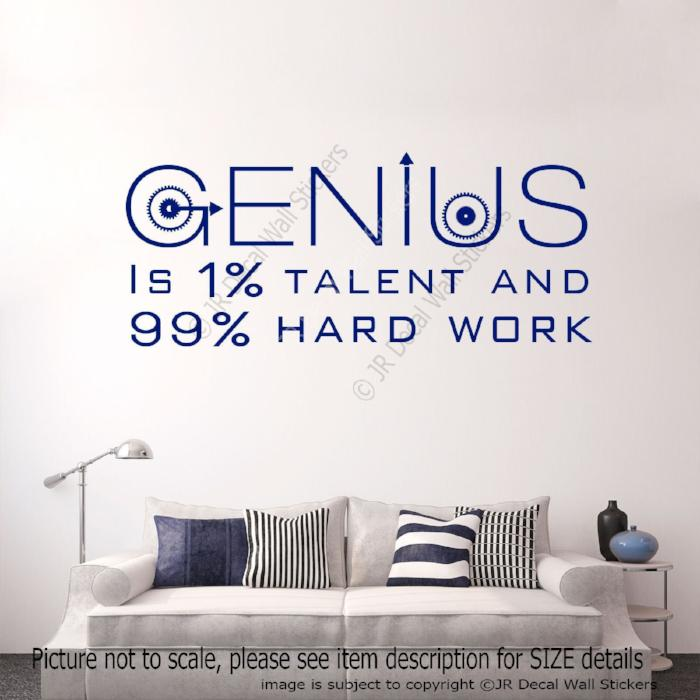 """Genius talent hard work"" Motivational quotes wall stickers removable vinyl decals"