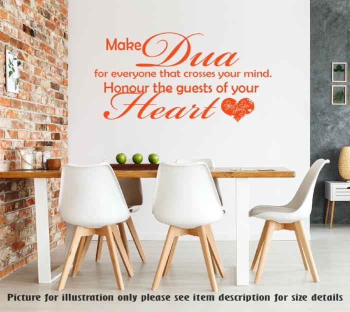 Honour the guests of your Heart - Islamic wall Quote Islamic dining Room  Leaving room Decor Islamic Dua Wall Art Stickers Decal Muslim Decor
