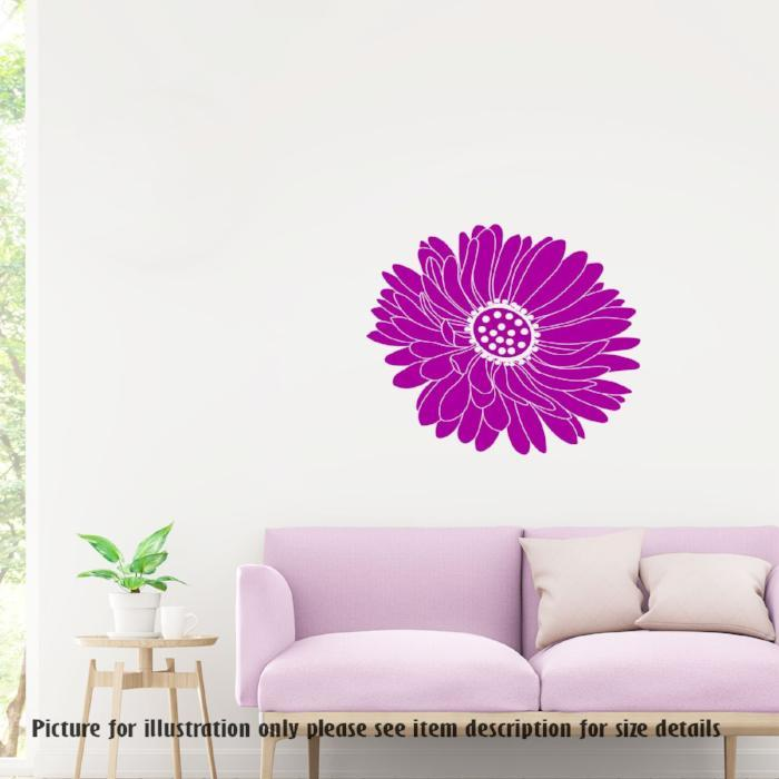 Daisy flower decal, Big Flower wall sticker, Removable Vinyl Wall Decals, Nursery Wall Art Decoration, Home Decor Flower Fetal Wall Stickers