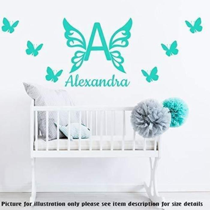Butterfly Monogram Wall Stickers, PERSONALISED Name Butterflies Wall Art Sticker Nursery Wall Decal, Child's Room Vinyl Wall Sticker