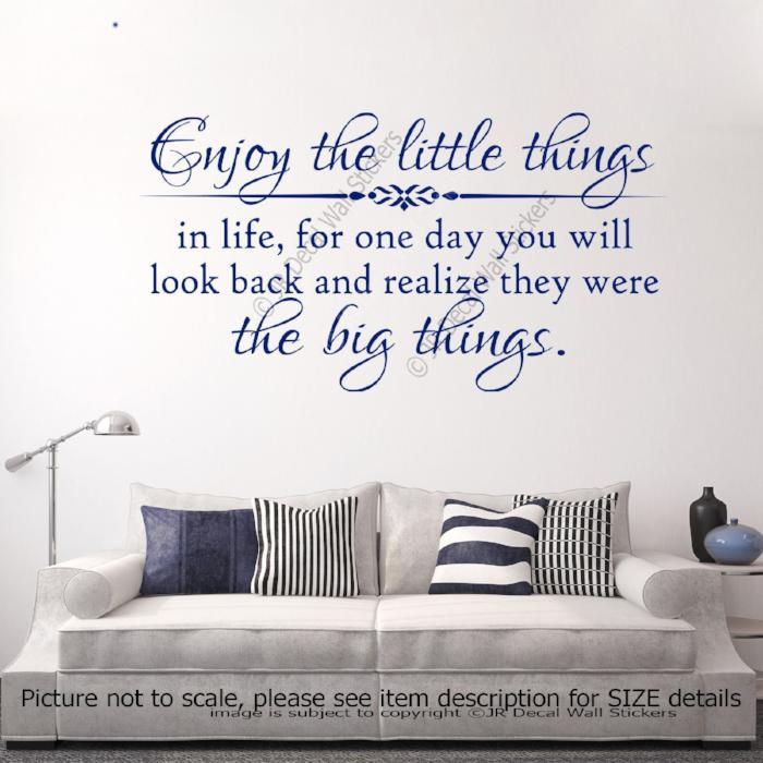 """Enjoy the little things in Life"" Quote Motivational Decal vinyl Wall Art Stickers"