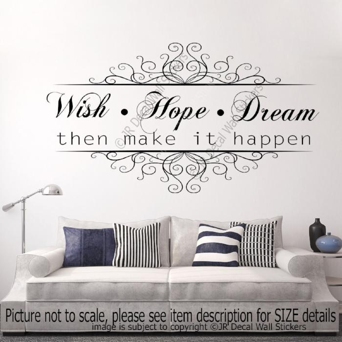 """Wish. Hope. Dream then make it Happen"" Quote Vinyl Wall Decals Removable Stickers"