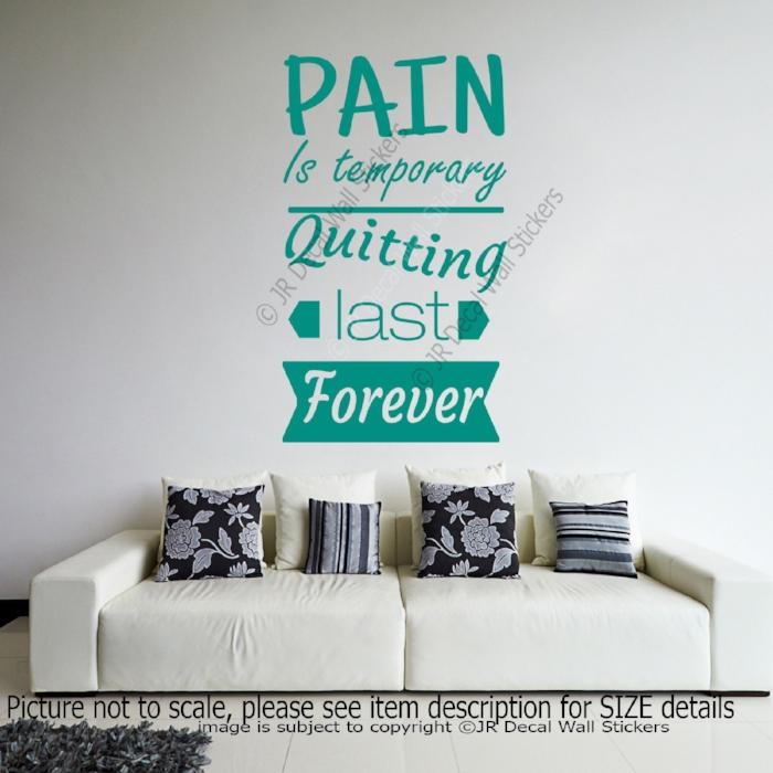 """Pain is Temporary""- Quote inspiring wall decals Removable Vinyl Sticker Gym Decor"