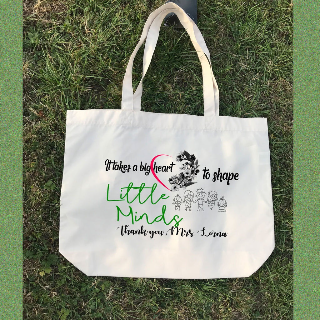 It takes big heart -Best teacher Quote, Personalised Canvas Tote Bag, Teacher Leaving, Graduation day, Printed Shopping bag, Teacher gifts