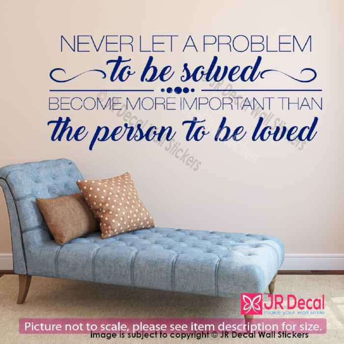 """Never let A problem""- Inspirational quotes wall stickers, Removable vinyl wall sticker, Wall quotes"