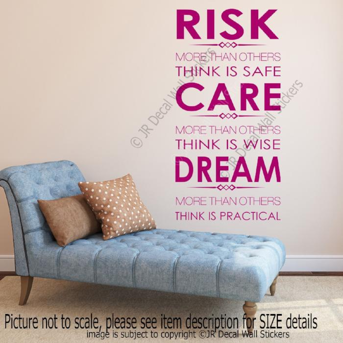 """RISK, CARE, DREAM""- Inspirational quotes stickers for walls Vinyl wall decals"