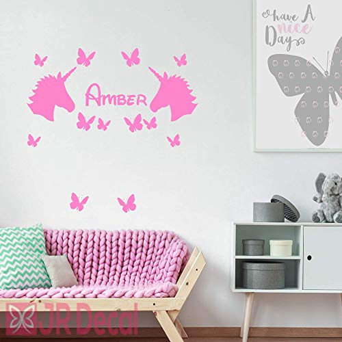2 Unicorn with Butterflies Personalised name sticker