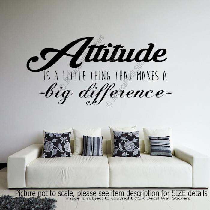 """Attitude makes a big Difference""- Motivational Quote Wall Sticker inspiring Decal"