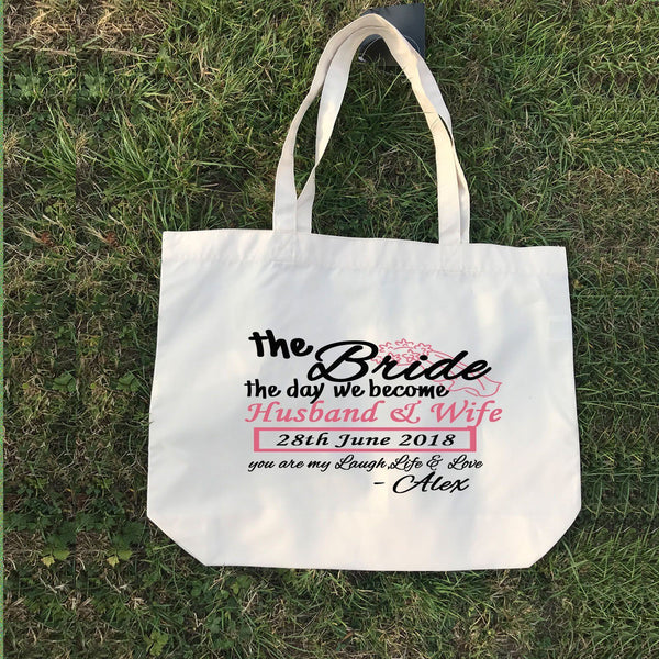 we become Husband and Wife -Couple Gift Tote, Personalised Canvas Tote Bag, wedding gifts, Bridal Party Gift, Beach Wedding Bridesmaid gifts