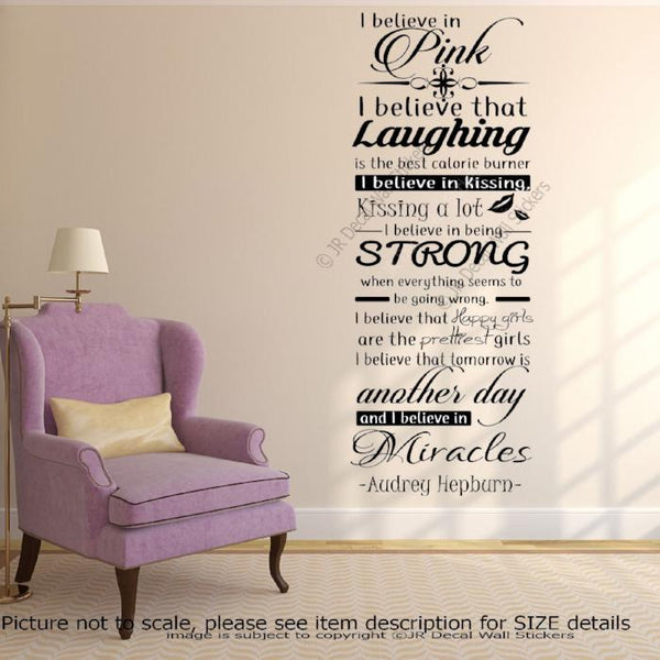 "Audrey Hepburn Quote ""Believe in Pink"" Vinyl Wall Art Stickers Girls room decal"