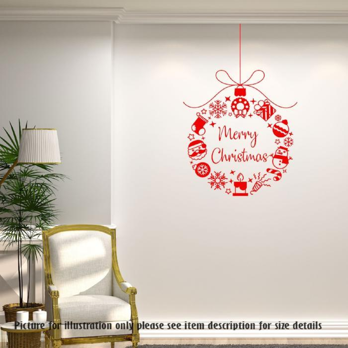 merry christmas wreaths - vinyl wall decals, christmas shop window