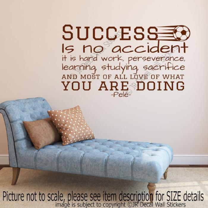 "Pele Quote ""Success is no accident"" Vinyl Wall Art Sticker Gym Sports wall Decal"