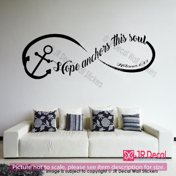 """Hope anchors this soul""- Hebrews 6:19 quote Decals Vinyl Wall Stickers Home Decor"