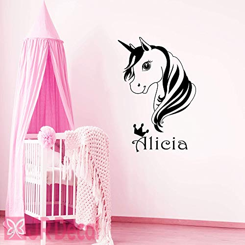 Personalised Unicorn Wall Stickers for Baby Girls
