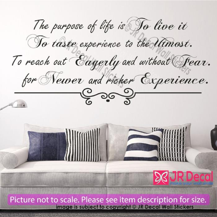 """The purpose of life is to live it""- Inspiring Quote Decal Vinyl Wall Art Sticker"