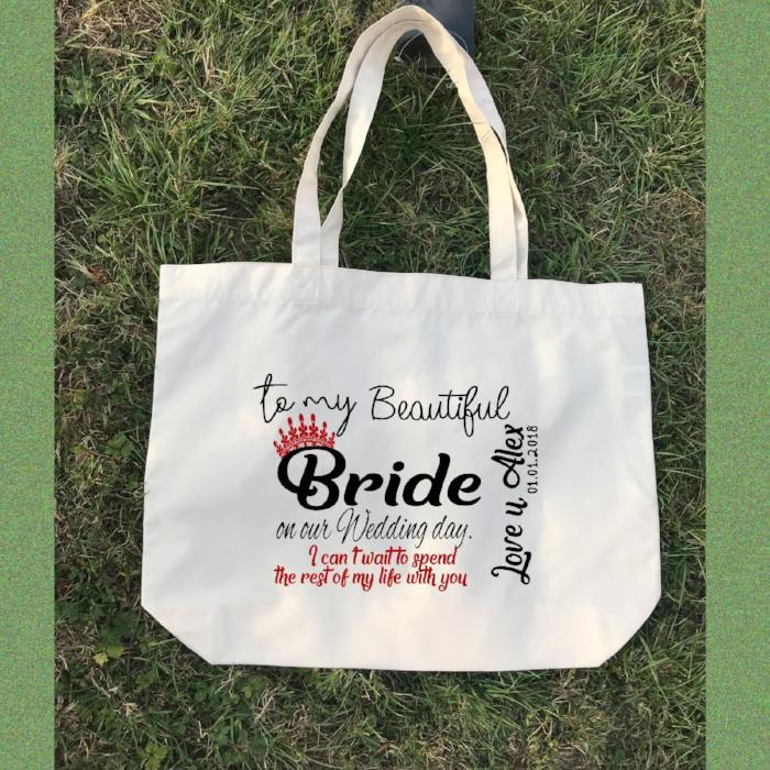 Personalised White Canvas Tote Bag, Bridesmaid Bag - wedding gifts - Canvas Tote Bag - Bridal Party Gifts - Beach Wedding Bridesmaid gifts