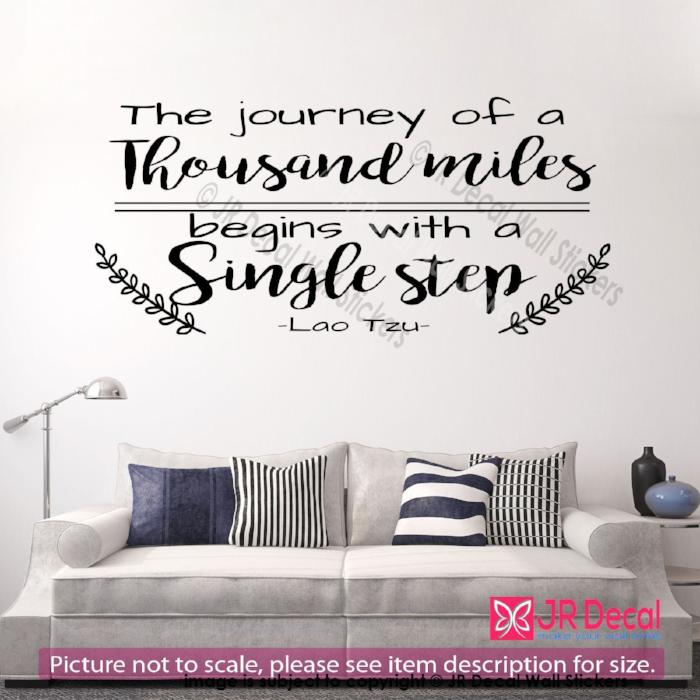"""The journey of a thousand miles""- Lao Tzu Groves Inspirational quote wall art, Vinyl wall sticker"