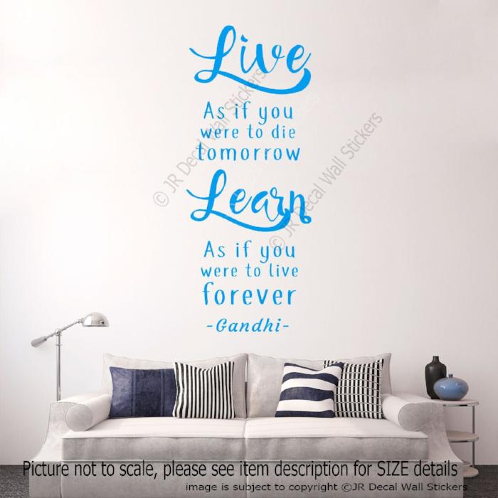 """Live Forever""  - Gandhi Inspirational Quote Decals Office vinyl Wall Art Stickers"