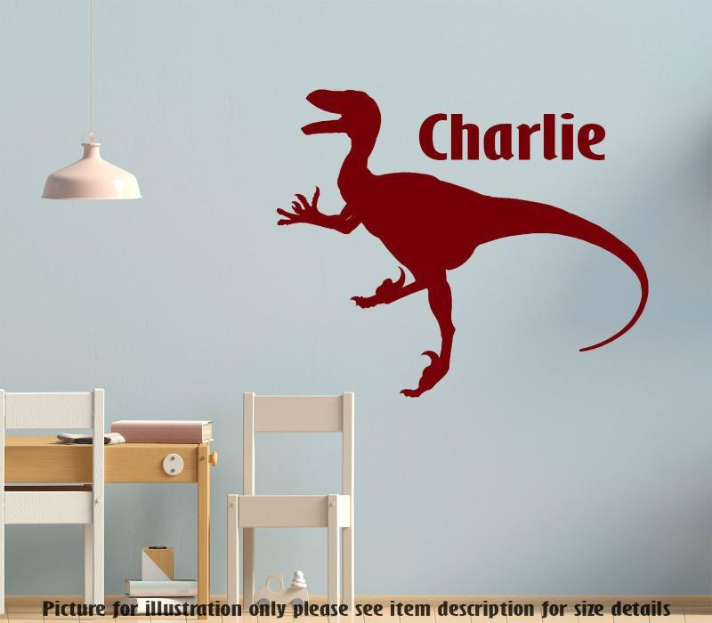 Personalised Name Dino Wall Decal, Tyrannosaurus T-Rex Dinosaur Wall Sticker, Playroom Kid's Room Decor, Jurassic world theme wall stickers