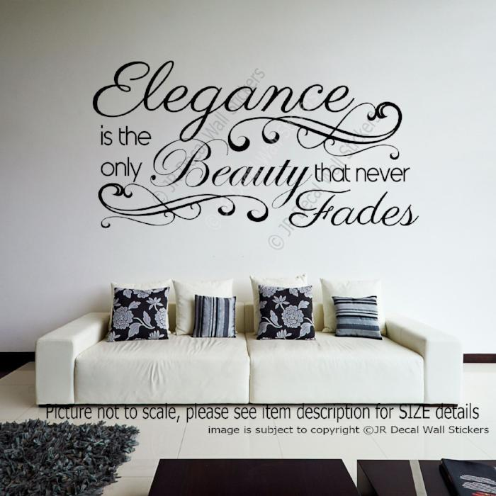 elegance is beauty quote vinyl removable wall art sticker home decal