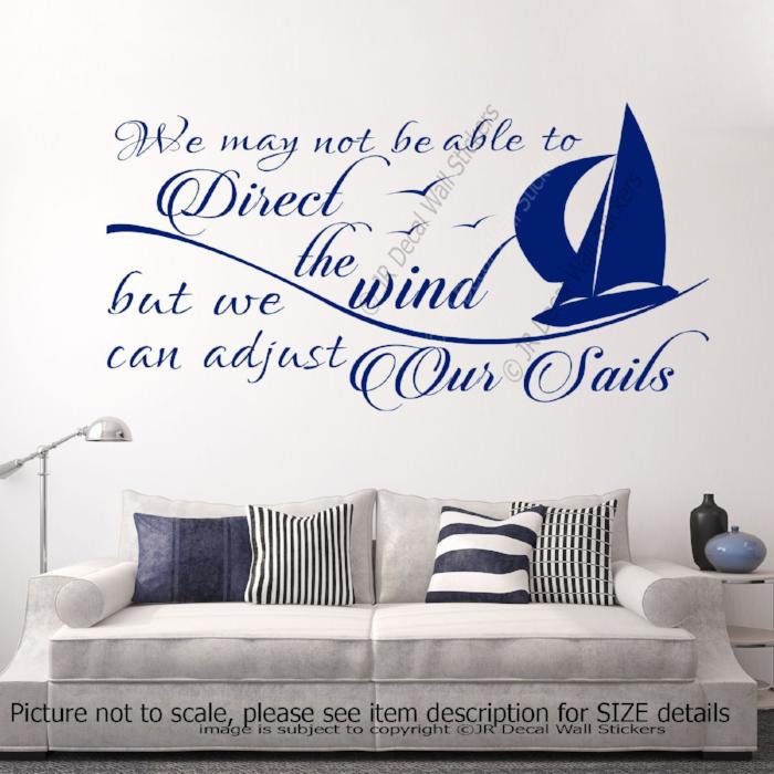 """We can Adjust our sails""- inspirational quote Decals Vinyl Wall Art Sticker Decor"