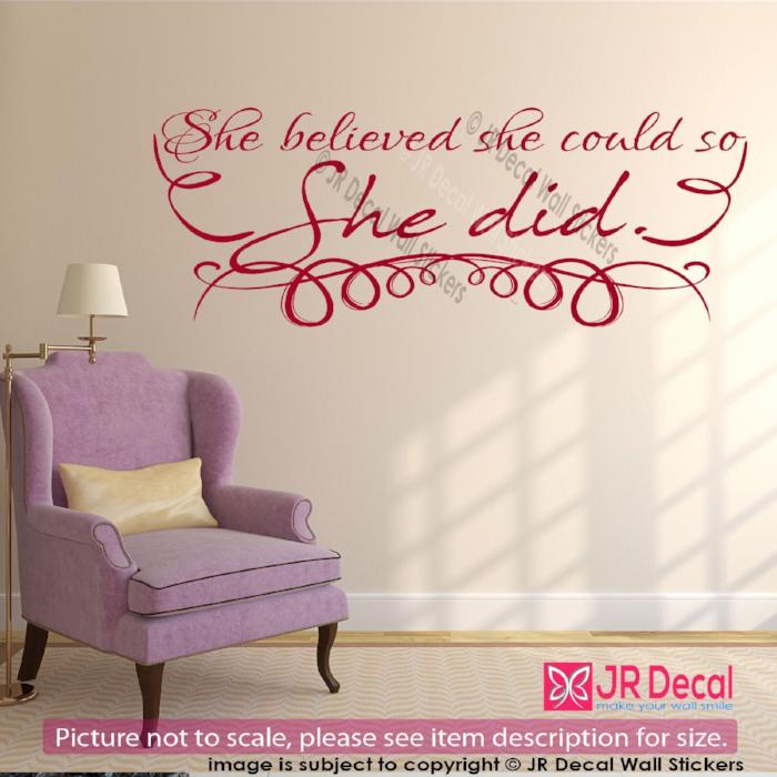 """She believed she could so she did""- inspiring quote Sticker women Vinyl Art Decal"