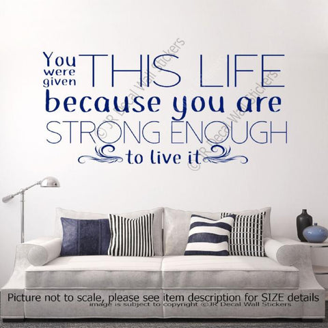 """You are Strong enough to Live""- inspiring quote wall decals Vinyl Wall Stickers"