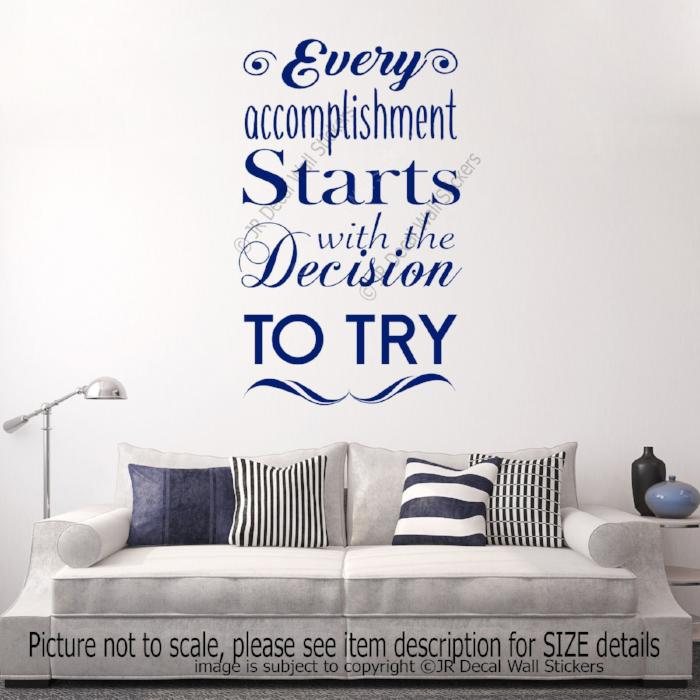 """Every accomplishment Starts with Try""- Quote Vinyl Sticker inspiring wall decals"