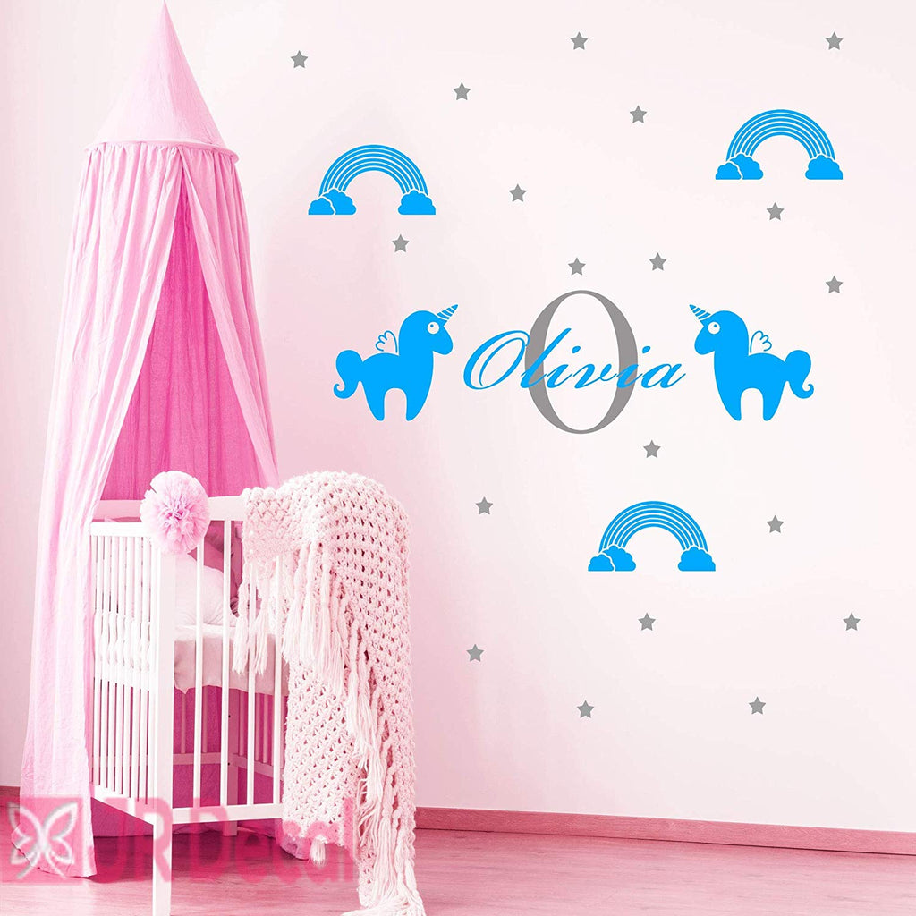 Unicorn Rainbow Girls name wall stickers