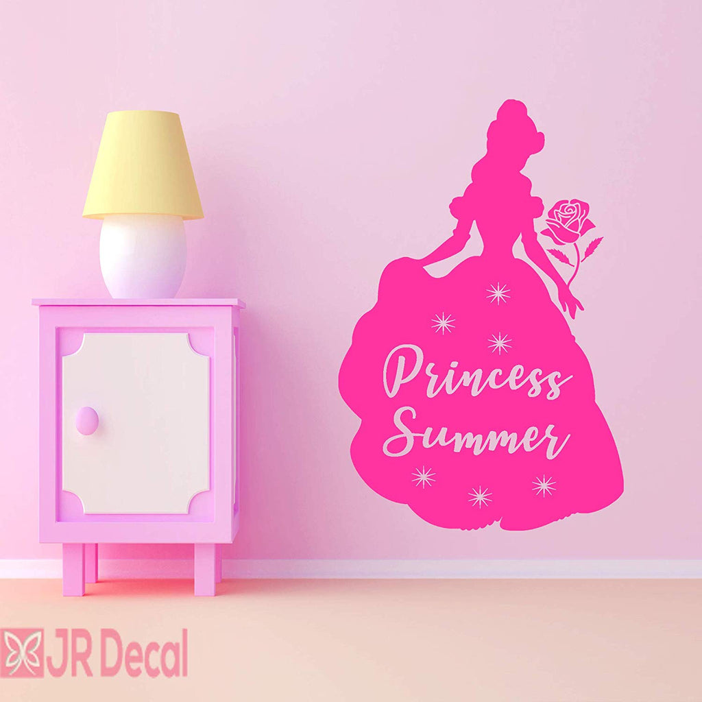 Princess Belle Personalized name vinyl wall stickers