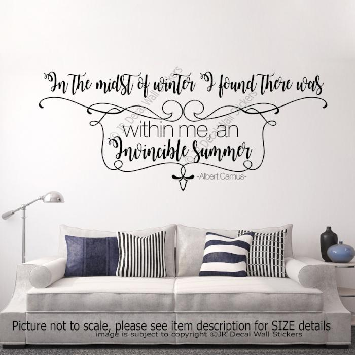 """I found Invincible Summer""- Albert Camus Quote Wall Art Stickers inspiring Decals"