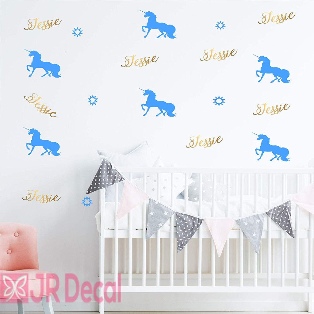 Personalized Name Unicorn set Wall Stickers