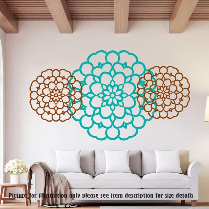 Big Flower pattern - Removable Vinyl Wall Decals, Nursery Wall Art Decoration, Home Decor Wall Stickers