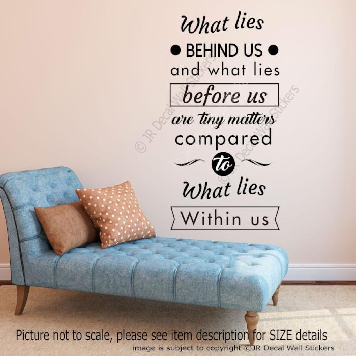 """Lies behind us"" Inspirational quote wall stickers removable vinyl wall art"