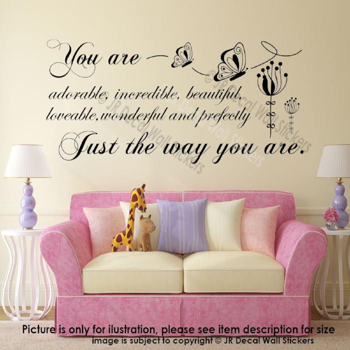 """Perfectly Just the way you are""- Inspiring Quote Decal Vinyl Sticker Woman Quote"