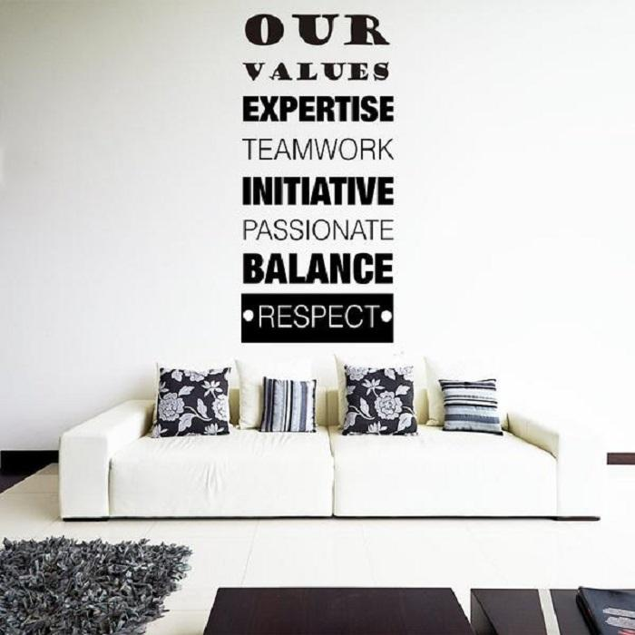 Our Values - inspirational Quote Removable Vinyl Wall Art Stickers