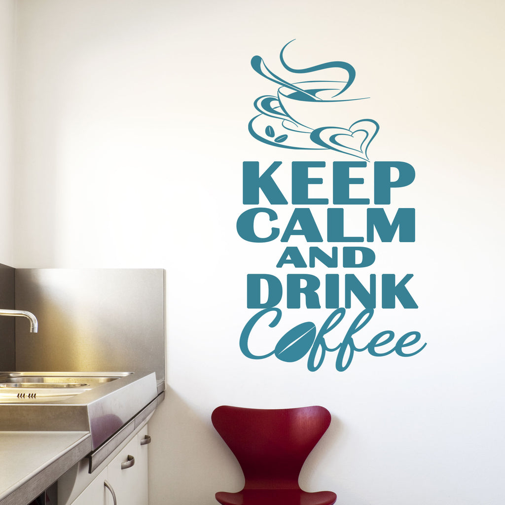 """Keep Calm and Drink Coffee"" kitchen wall stickers"