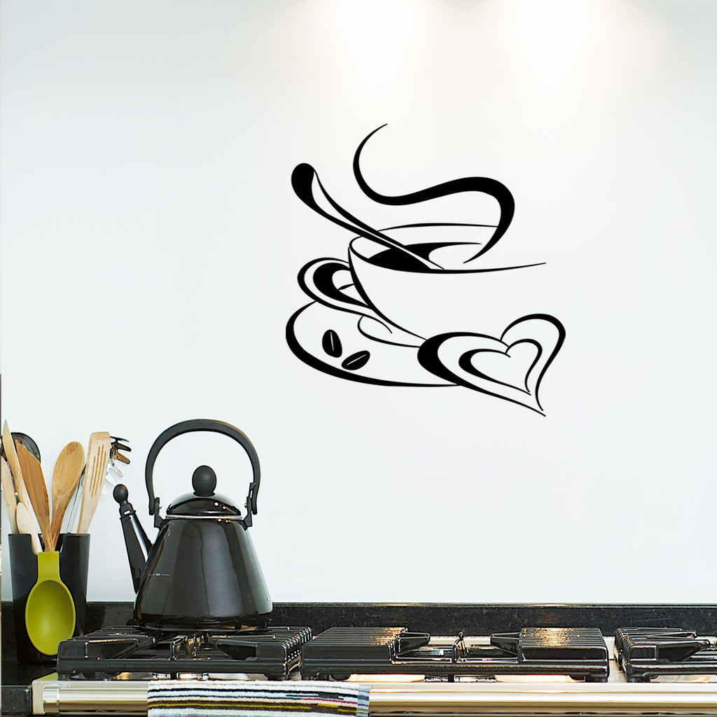 Coffee Cup Heart shape kitchen wall stickers