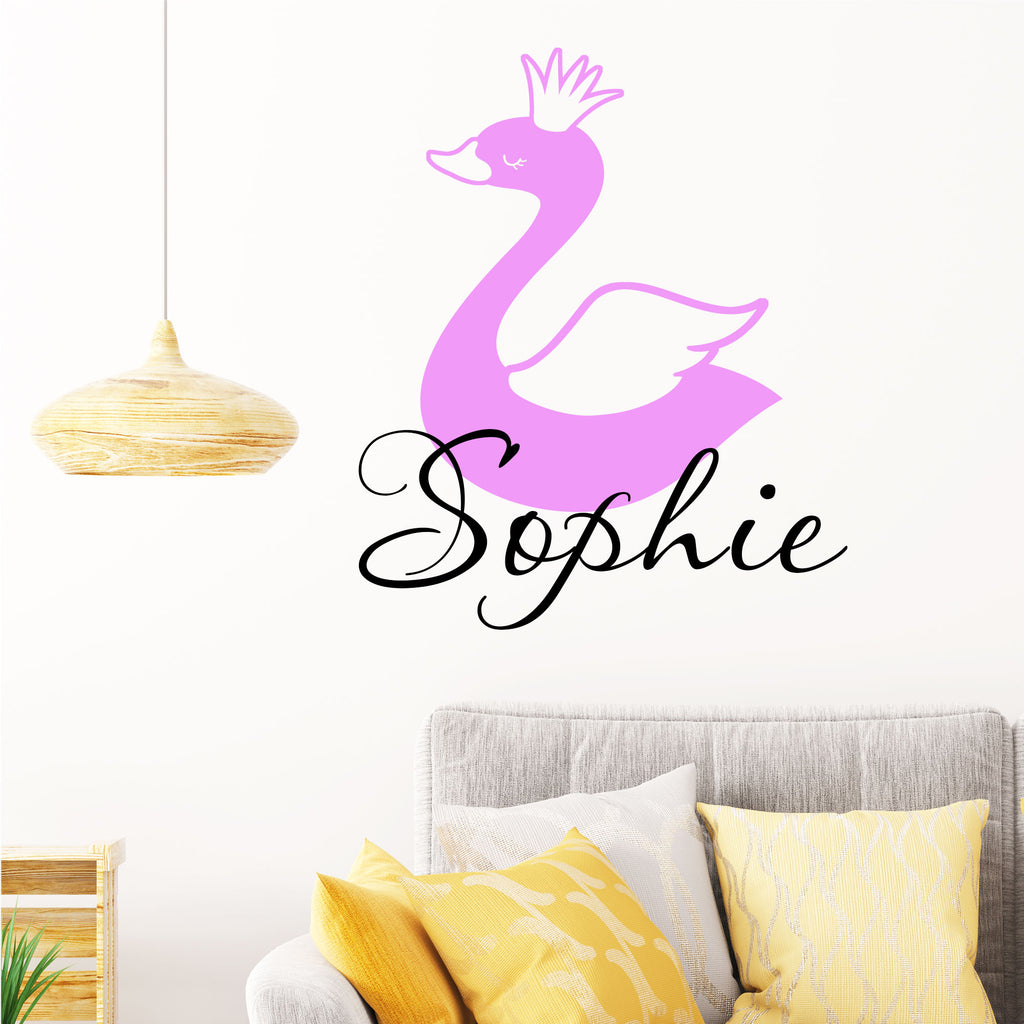 Swan printed Girls Personalised name sticker